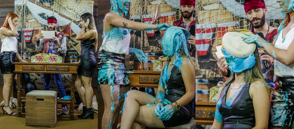Redhead lawyer and brunette architect taking several pies in the face (girls getting pied and slimed redhead) - Pamela vs Anna Program 10