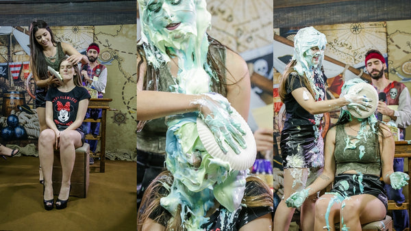 Pie Challenge Program 12 - Zoe and Leticia are destroyed by several pies in the face (Zoe takes 30 pies in the face and Slimed!)