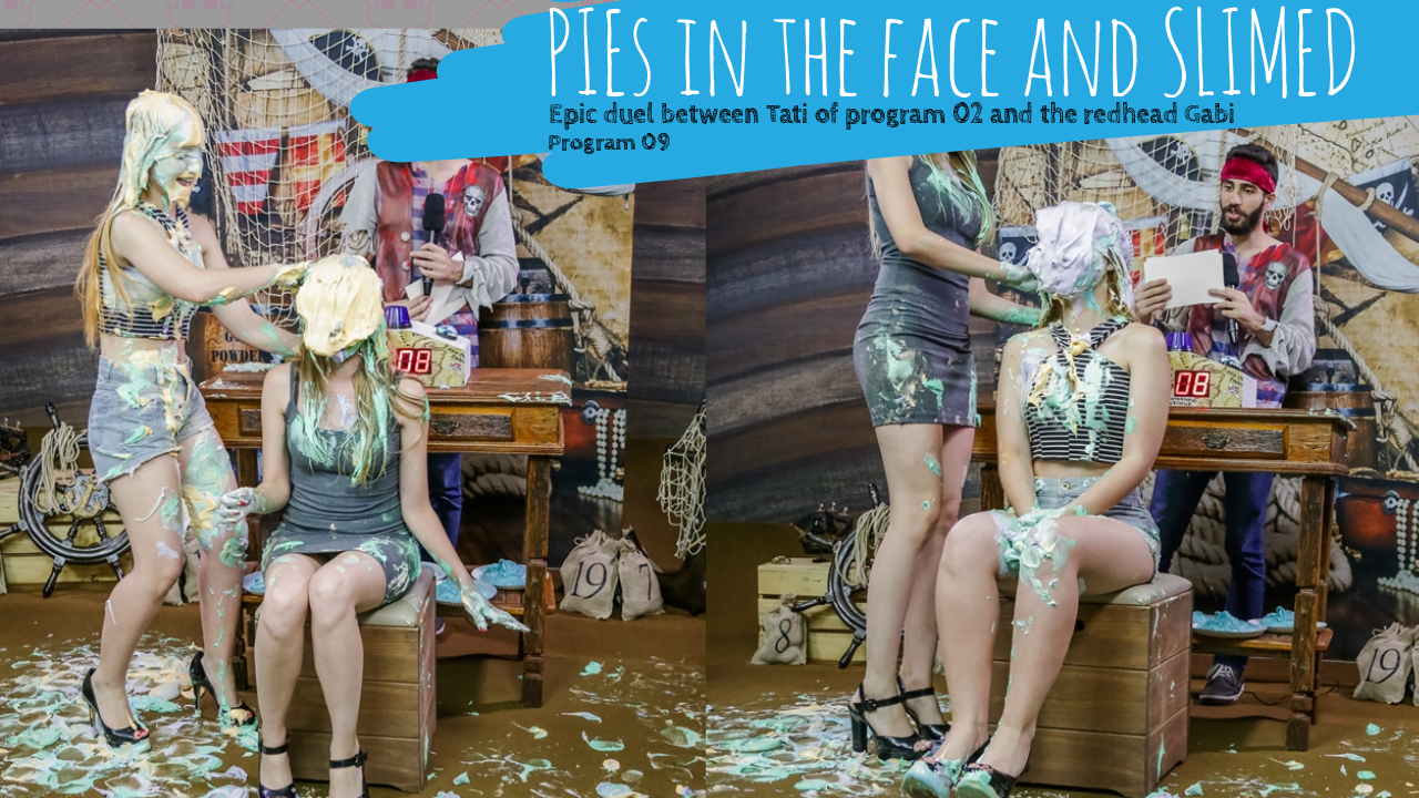 pie in the face girls and slimed girls