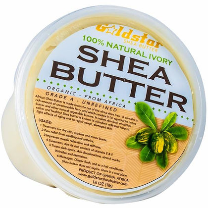 Goldstar 100% Grade A Raw Unrefined Organic Shea Butter (16 oz)