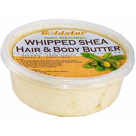 Goldstar Whipped Shea Butter for Hair and Body with Castor, Jojoba, Coconut Oil and Vitamin E - 8OZ