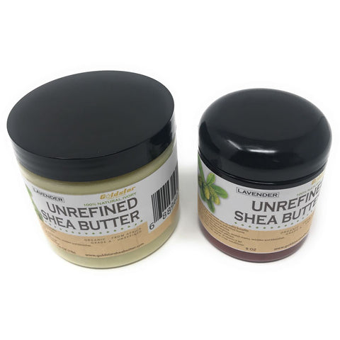 Goldstar Grade A 100% Raw Natural Unrefined Shea Butter with LAVENDER (COMBO 8 and 16 OZ)