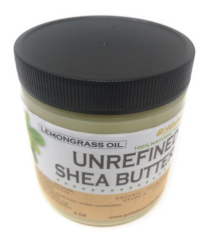 Goldstar Grade A 100% Raw Natural Unrefined Shea Butter Infused with LEMONGRASS (8 OZ)