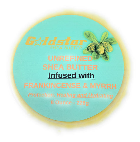 100% Grade A Raw Shea Butter Infused with Frankincense and Myrrh - 8 OZ