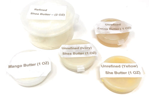 Goldstar Sample Butters - Unrefined Ivory and Yellow Shea Butter Refine Shea Butter Mango and Cocoa Butter