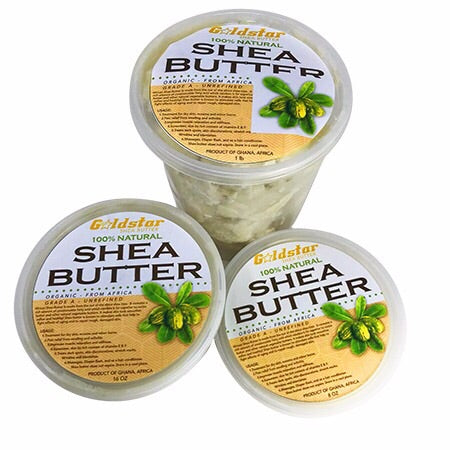 Goldstar 100% Grade A Raw Unrefined Organic Shea Butter Gift Set (8 and 16 oz and 2 pound)