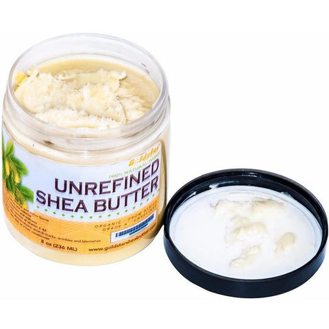 Goldstar Grade A 100% Raw Natural Unrefined Shea Butter for DIY body butter (8 OZ)