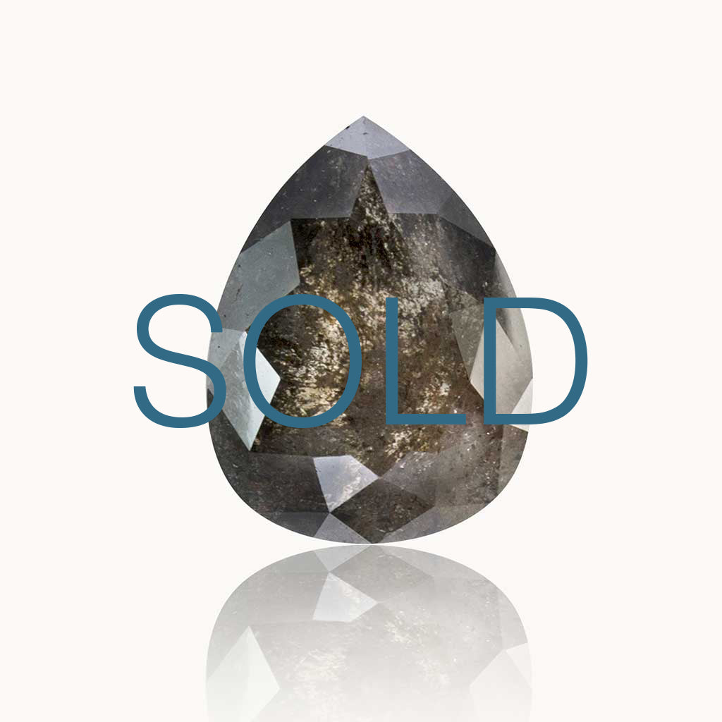 SOLD 1.92 ct. Grey Salt and Pepper Pear Diamond