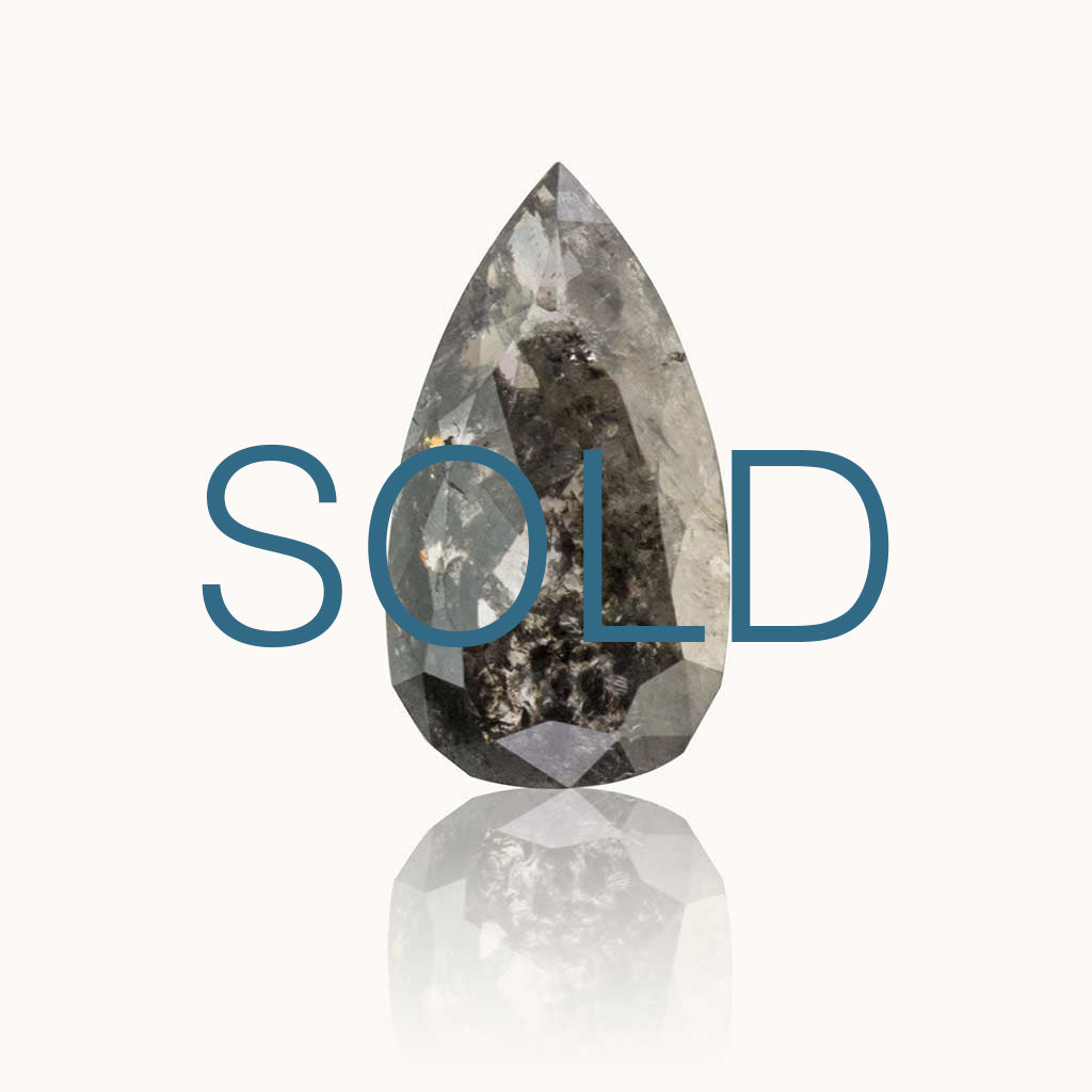 SOLD 1.66 ct. Grey Salt and Pepper Pear Diamond