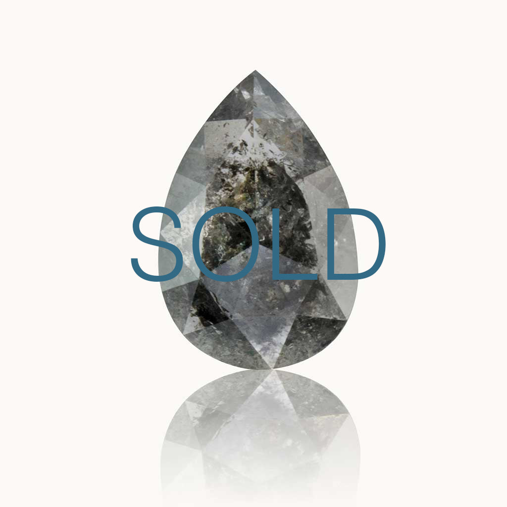 SOLD 1.13 ct. Grey Salt & Pepper Pear Diamond