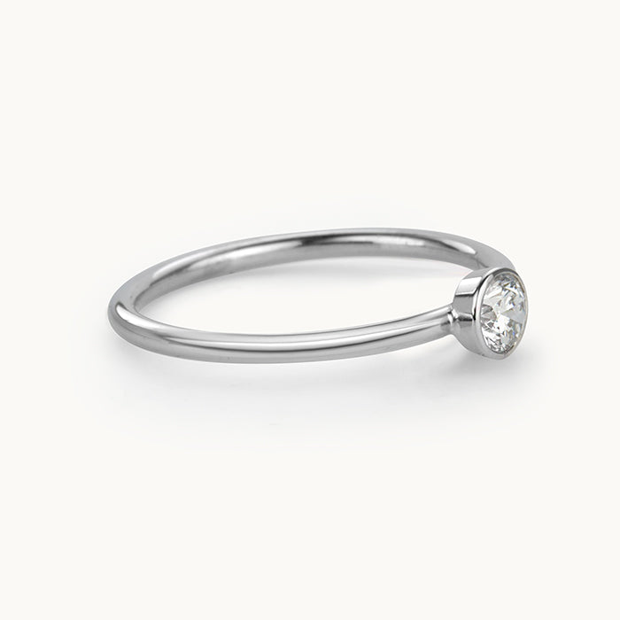 Kanso Bezel Set White Gold Ring