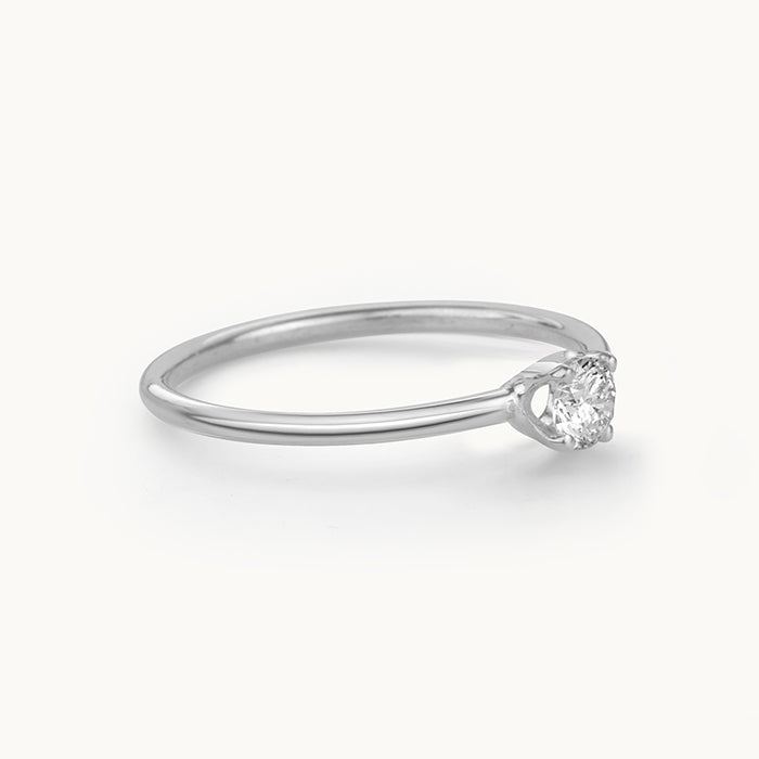 Kanso Prong Set White Gold Ring