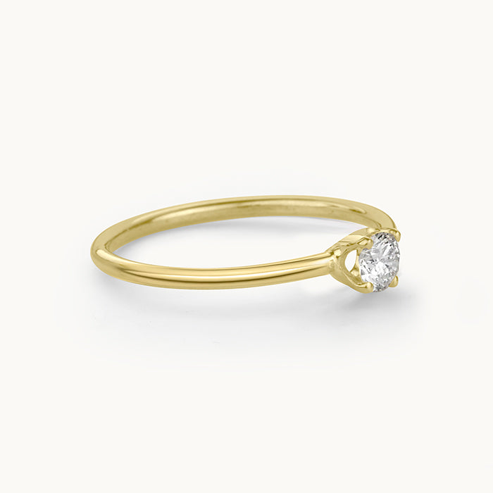 Kanso Prong Set Yellow Gold Ring