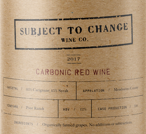 2017 Poor Ranch Carbonic Red Wine