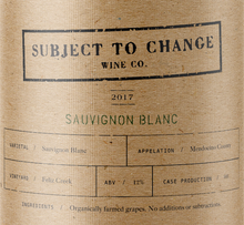 Subject To Change Sauvignon Blanc Label Details