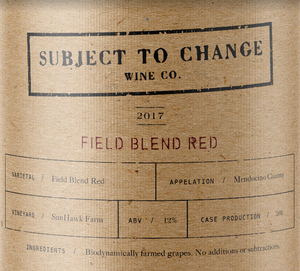 Subject To Change Field Blend Red Label Details
