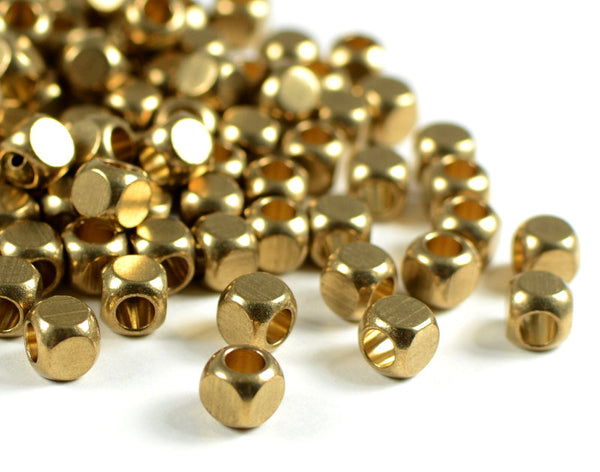 B002-5-G 5mm 22K GOLD Plating Cube Jewelry Beads with 3.6mm Large Hole