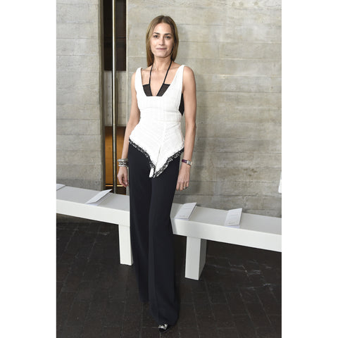 Roland Mouret RE18 Cottingham Top in White/Black as worn by Yasmin Le Bon