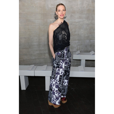 Roland Mouret SS18 Meltham Trouser in Navy/White/Indigo as worn by Tiphaine de Lussy