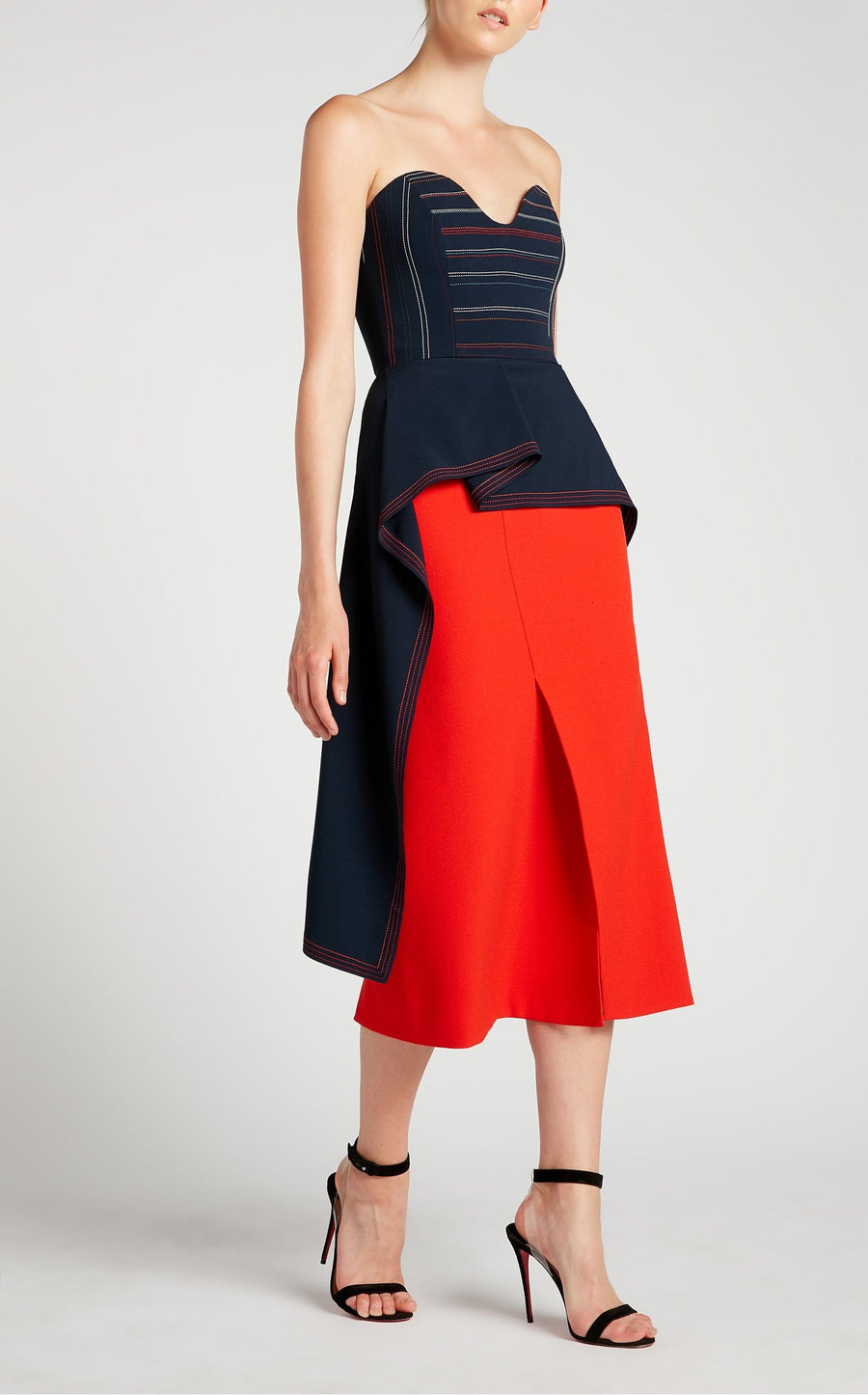 Abrams Skirt In Poppy Red from Roland Mouret