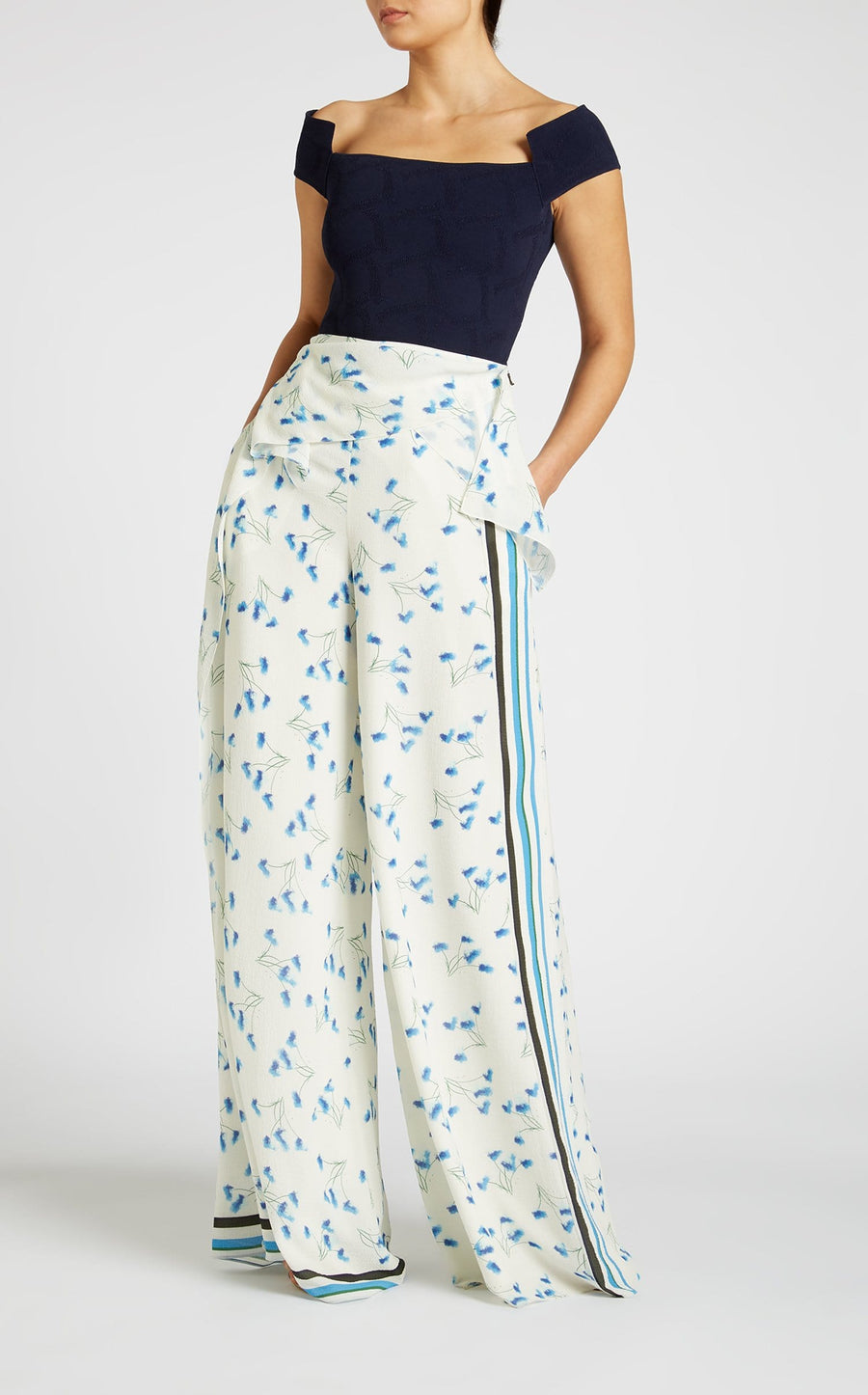 Argott Trouser In Electric Blue Dandelion from Roland Mouret
