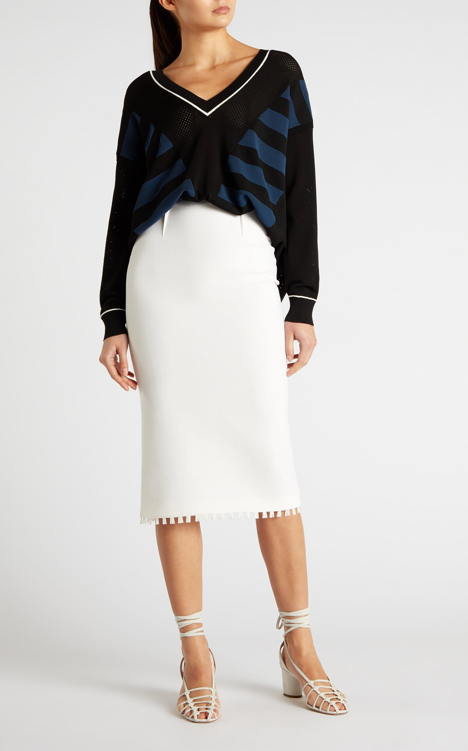 33fb773e92 Arreton Pencil Skirt in White Wool Crepe | Roland Mouret