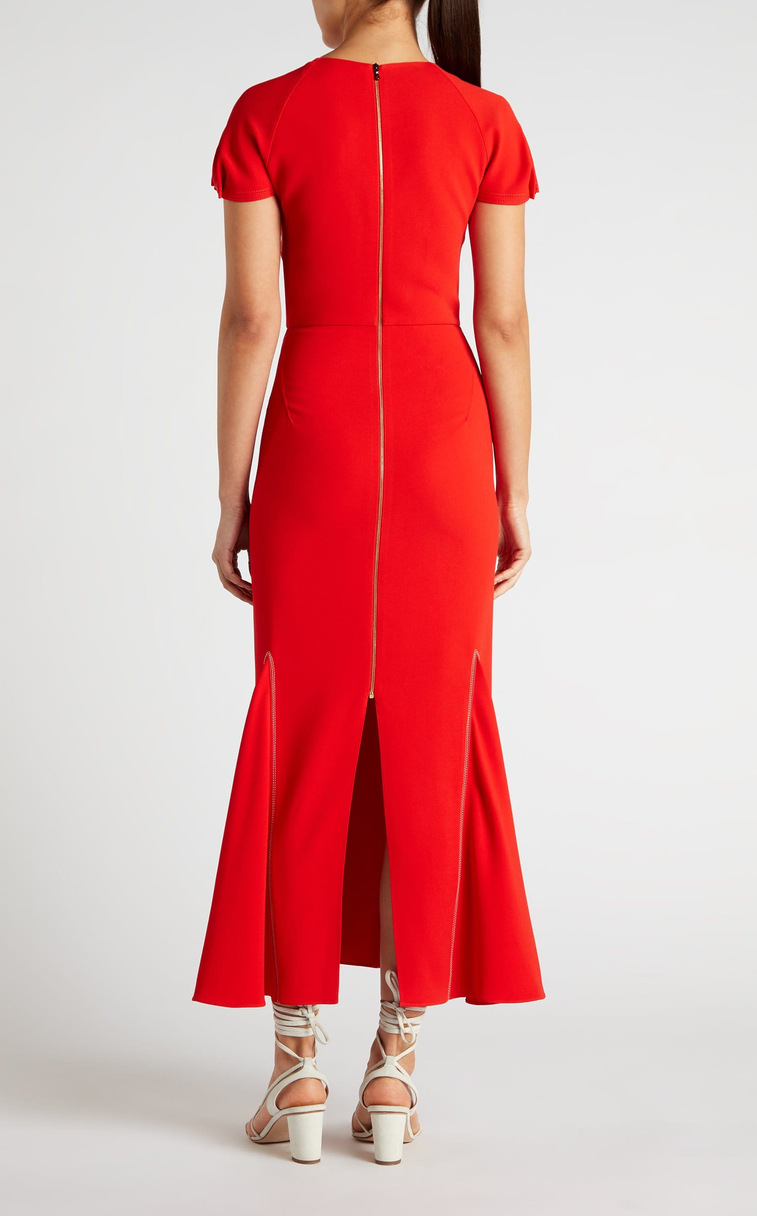 Bates Dress In Poppy Red Multi from Roland Mouret