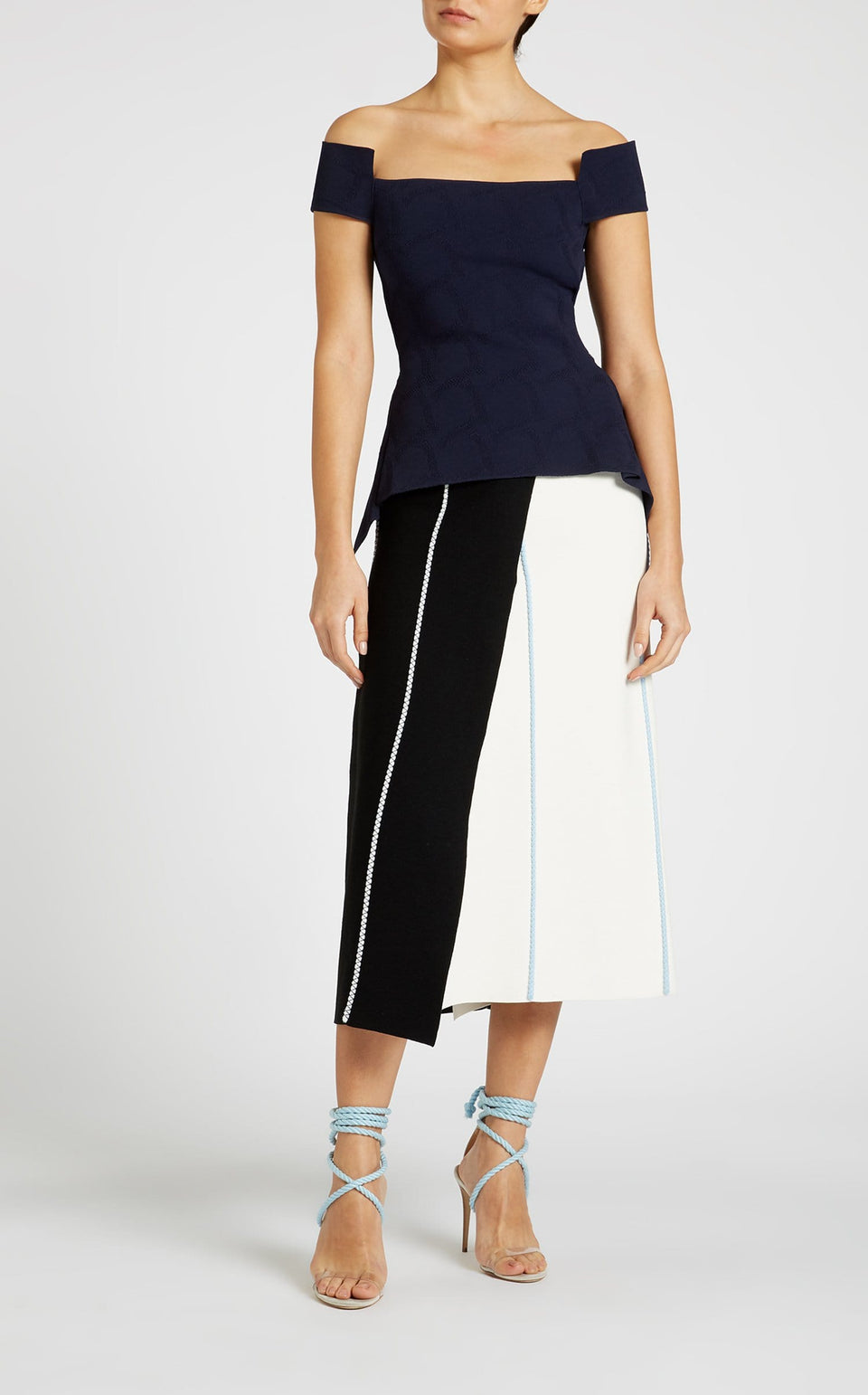 Glen Skirt In Black/White/Ice Blue from Roland Mouret