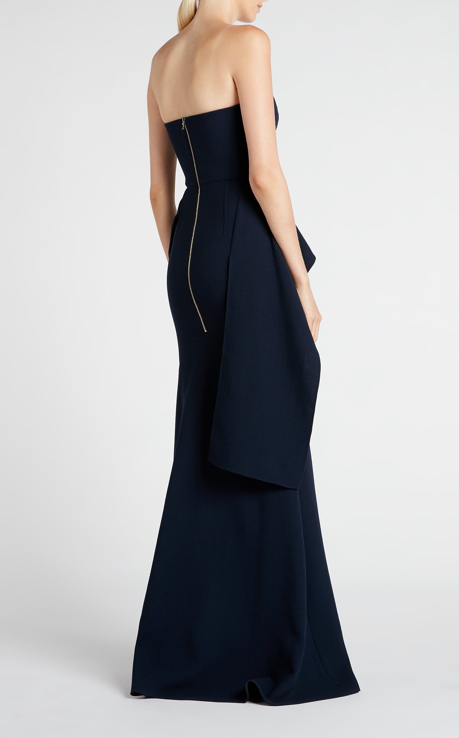 fd18d2fcff60 Bond Strapless Gown in Navy Wool Crepe | Roland Mouret