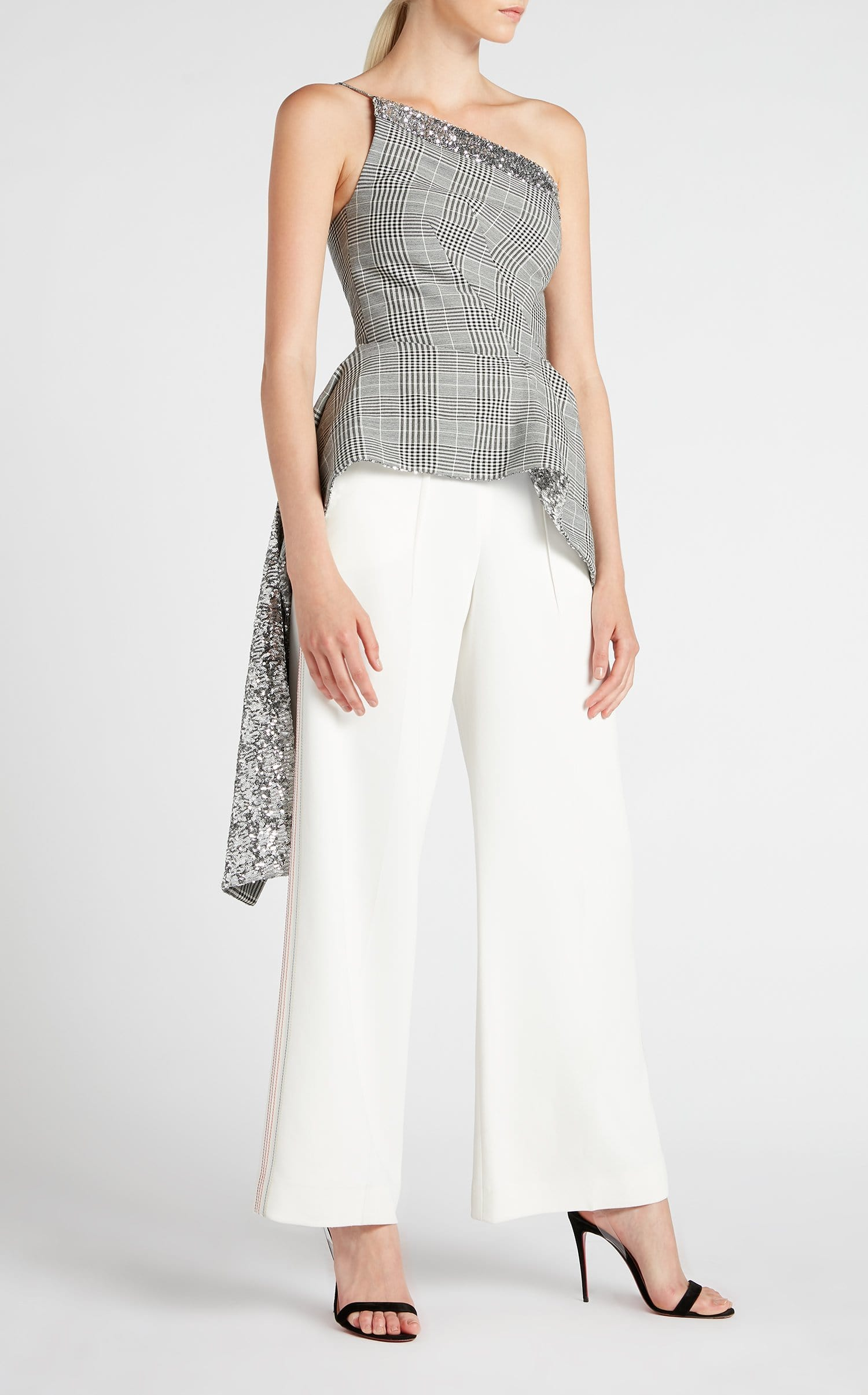 Caplan Top In Monochrome/Silver from Roland Mouret