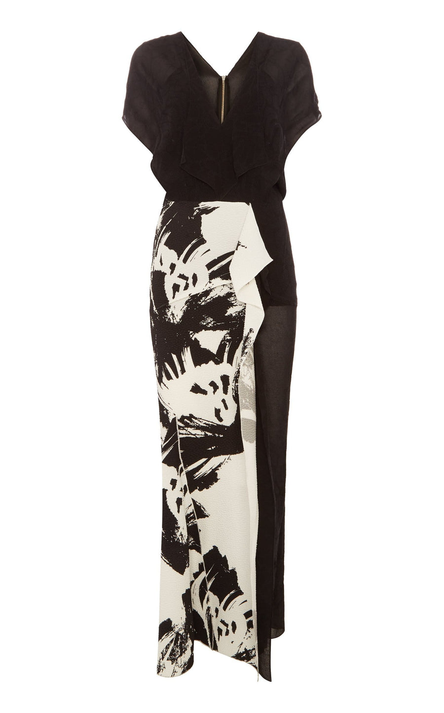 Chandon Dress In Black/Mono Lrg Painterly from Roland Mouret
