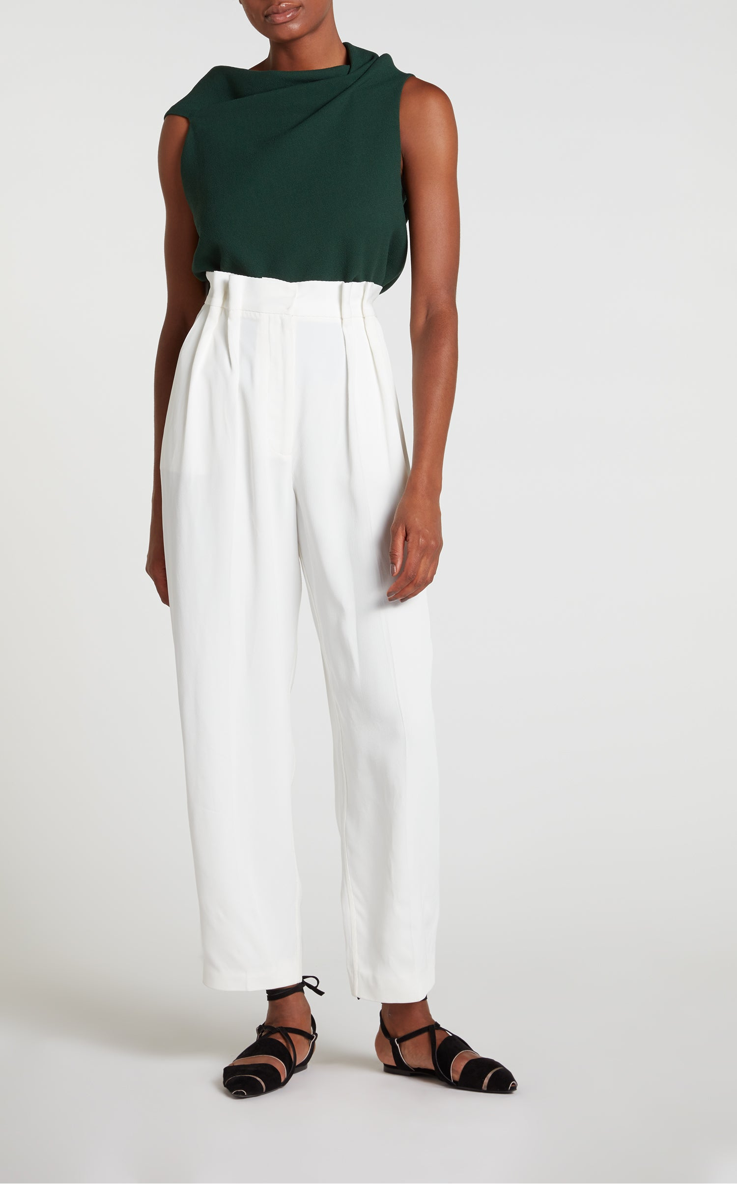 Eugene Asymmetric Wrap Top In Green Wool Crepe Roland Mouret