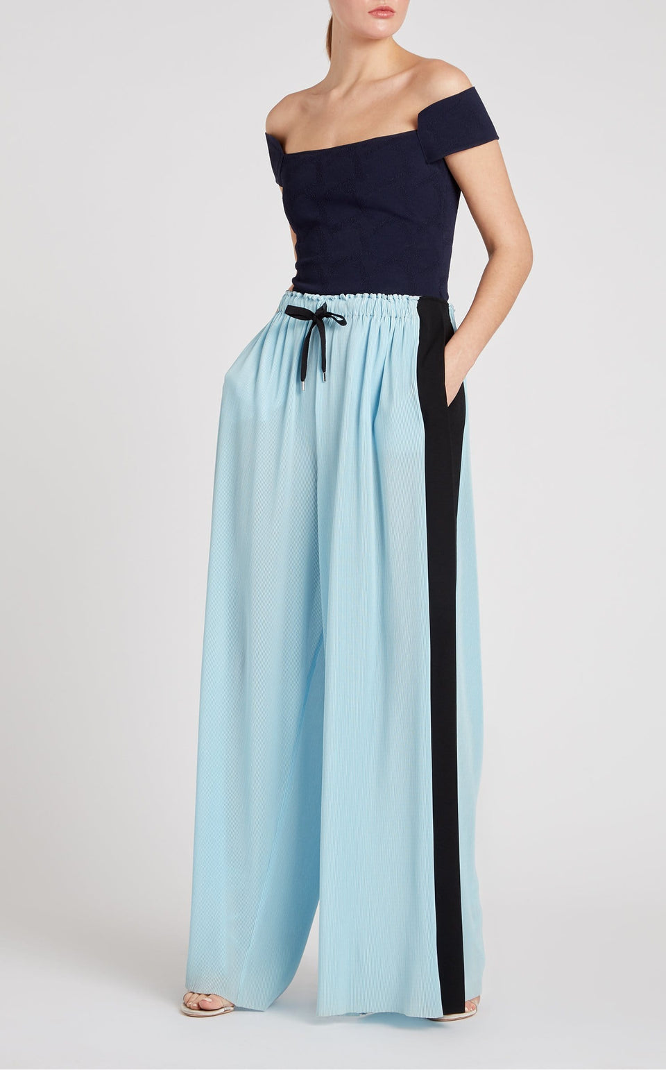 Haven Trouser In Ice Blue/Black from Roland Mouret
