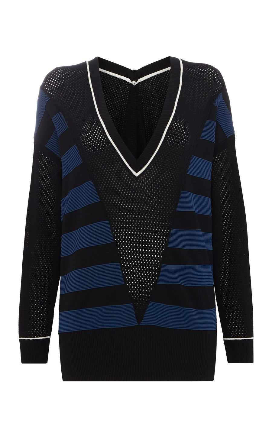 Lara Top In Black/Ultramarine/White from Roland Mouret