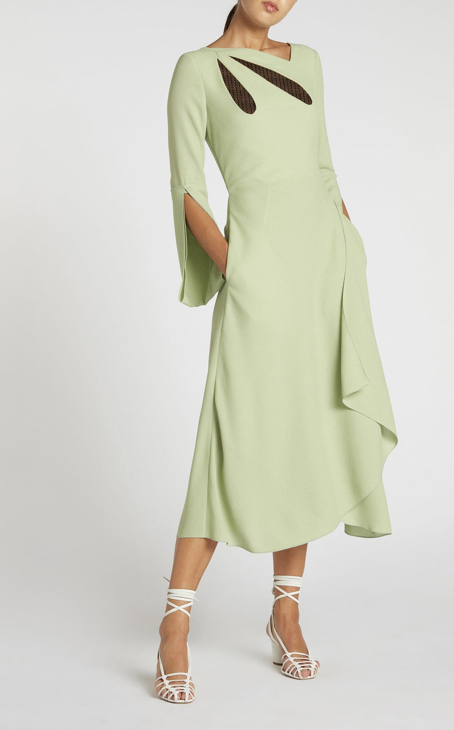 Oreti Dress In Pale Green/Black from Roland Mouret