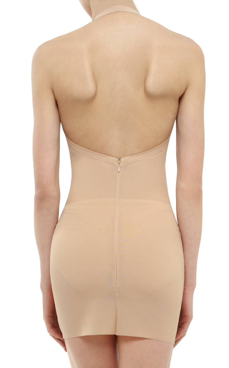 Powermesh Halter Mini Dress In Flesh from Roland Mouret