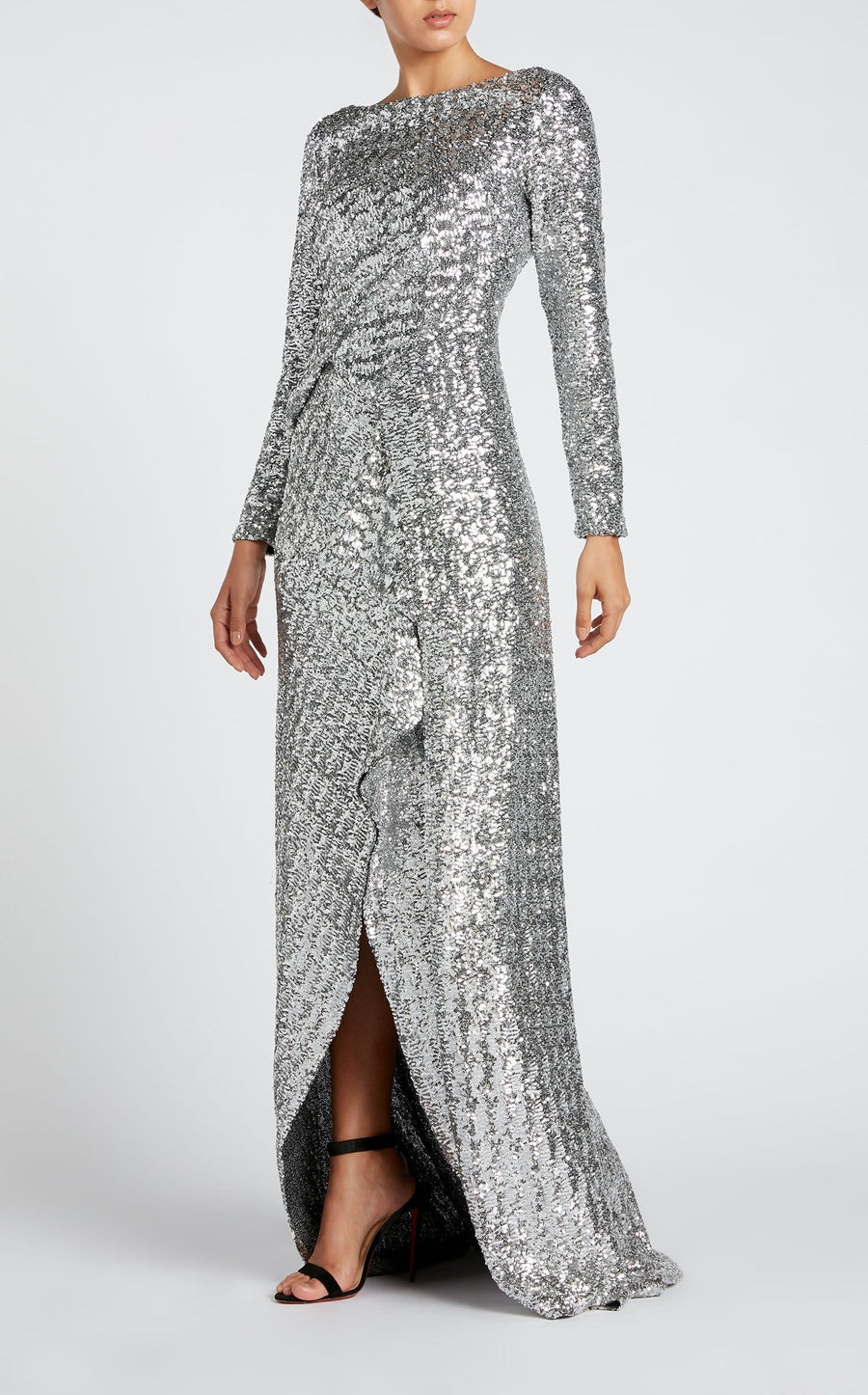Sarandon Gown In Silver from Roland Mouret