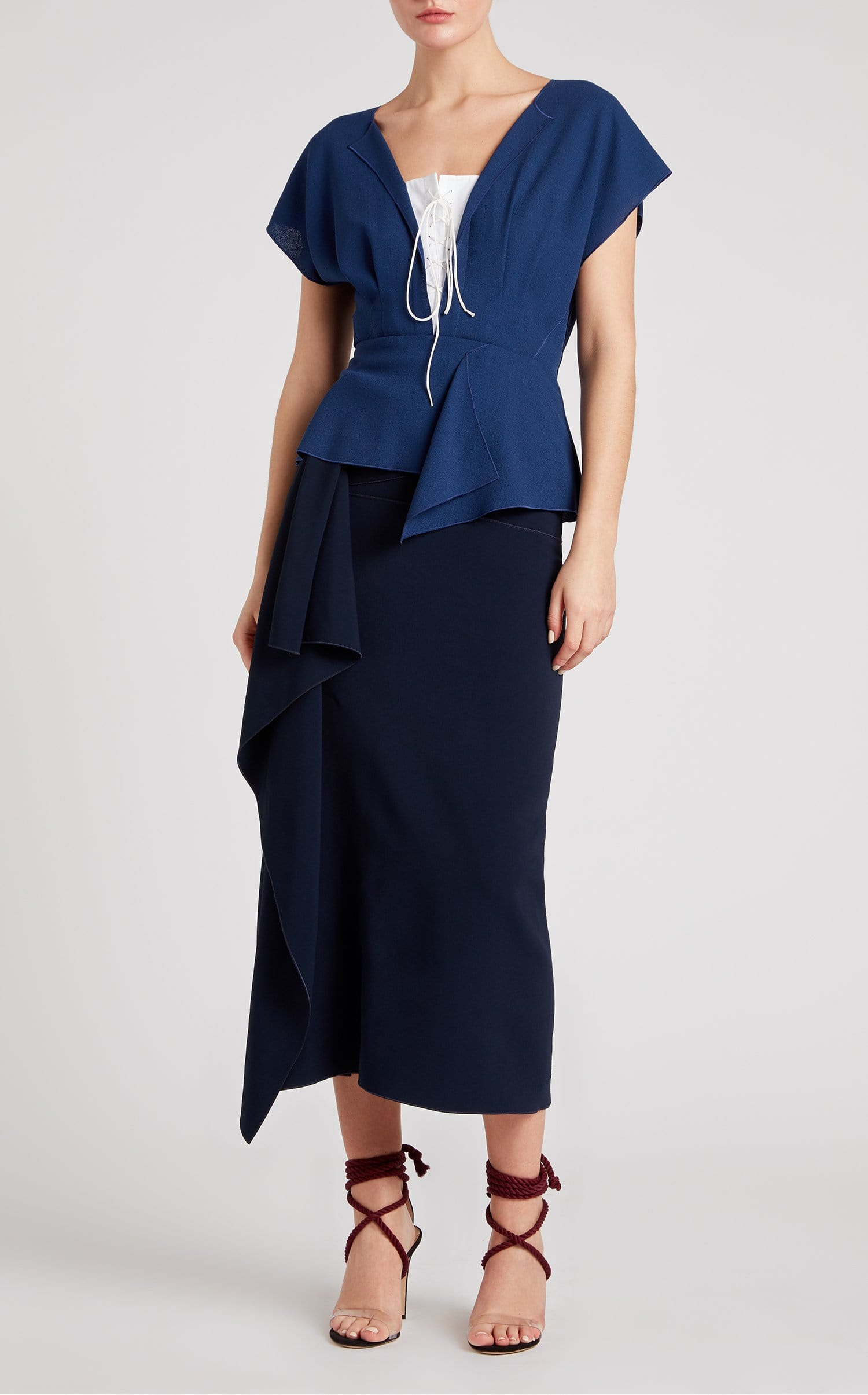 Tayrona Top In Capri Blue/White from Roland Mouret