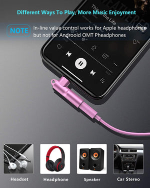 Mangotek Lightning to 3.5mm Female Jack iPhone Headphone Adapter for Microphone, Apple MFi Certified Connector AUX Audio Dongle Cable Compatible with Apple iPhone 12/ Mini/ Pro Max/11/XR/XS/Pro/Max