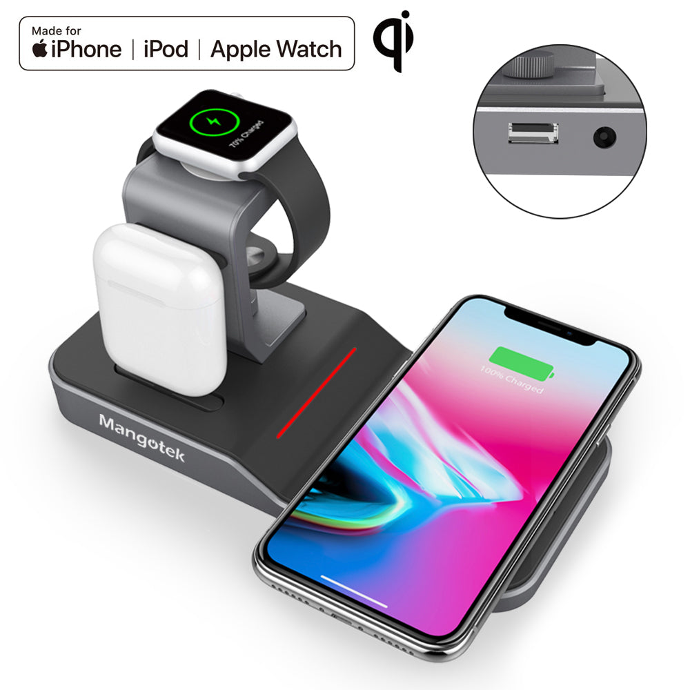 Mangotek Apple Watch Stand Wireless Charger for iPhone and iWatch, 4 in 1  Phone Charging Station with Lightning Connector and USB Port for iPhone
