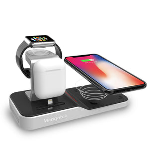Mangotek Apple Watch Stand Wireless Charger for iPhone and iWatch, 4 in 1 Phone Charging Station with Lightning Connector and USB Port for iPhone 8/X/XR/7/6 and iWatch Series 4/3/2/1, MFi Certified (including 12V/3A Adapter)