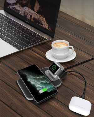 Mangotek Wireless Charging Station, 3 in 1 Qi Fast Wireless Charger Stand for Apple Watch, iPhone 11/11 Pro/11 Pro Max/XS Max/X, Samsung Galaxy Note 10/Note 10+/S10, AirPods Pro (Adaptor Included)