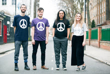 Group of people wearing CND Logo T-Shirts (the CND symbol is sometimes also known as the peace symbol)