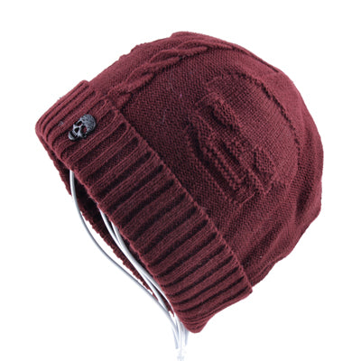 f335c49ea4f Super cool Skull pattern hats for men beanies Knitted wool plus velvet bone  Solid Color Hip