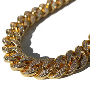 12mm Diamond Cuban Link Chain in Yellow Gold