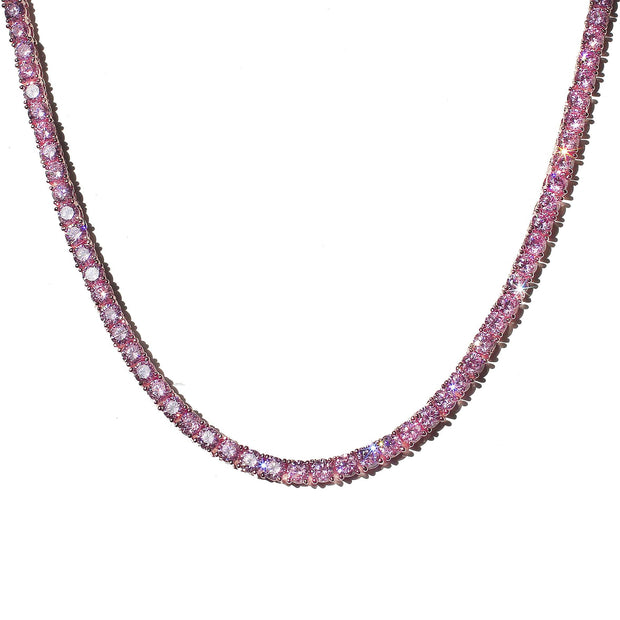 Tennis Chain 4mm Pink w/ Pink Stones