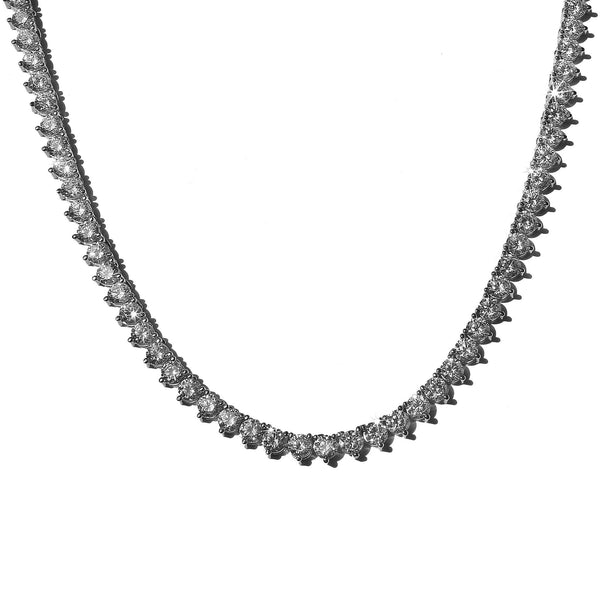 3 Prong Tennis Chain 4mm White Gold