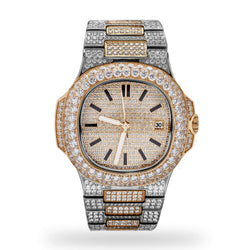 Yellow Gold Two Tone Royal Iced Watch