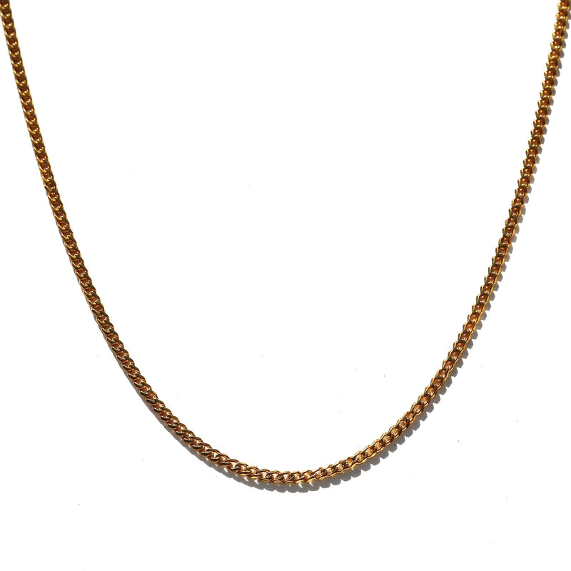 Micro Curb Chain 2.5mm Yellow Gold