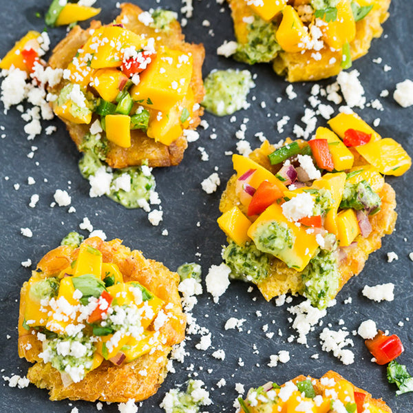 Tostones with Mango Salsa and Cilantro Chimichurri